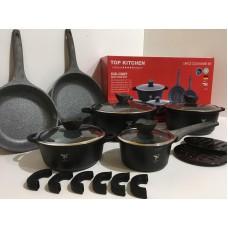 Высококачественный набор посуды с мраморным покрытием Top Kitchen TK00022 18 предметов