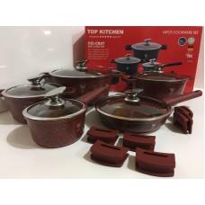 Высококачественный набор посуды с мраморным покрытием Top Kitchen TK00023 16 предметов Бордовый