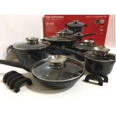 Высококачественный набор посуды с мраморным покрытием Top Kitchen TK00020 16 предметов