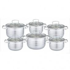 Набор посуды из высококачественной нержавеющей стали с зеркальная полировкой Edenberg из 12 предметов (EB-4075)