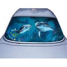 Наклейка на заднее стекло авто винил 3D Design House Дельфины универсальная