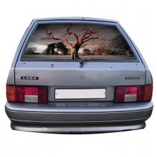 Наклейка на заднее стекло авто винил 3D Design House Дерево универсальная