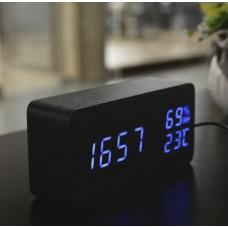 Часы-метеостанция LED сетевые (будильник, градусник, датчик влажности) Wooden Clock VST-862S черные с зеленой подсветкой
