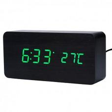 Часы LED сетевые (будильник, градусник, дата) Wooden Clock VST-862 черные с зеленой подсветкой
