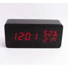 Часы-метеостанция LED сетевые (будильник, градусник, датчик влажности) Wooden Clock VST-862S черные с красной подсветкой
