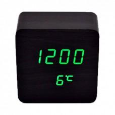 Часы LED сетевые (будильник, градусник, дата) Wooden Clock VST-872 черные с зеленой подсветкой