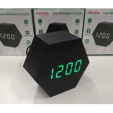 Часы LED сетевые (будильник, градусник, дата) Wooden Clock VST-876 черные с зеленой подсветкой