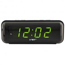 Часы-будильник настольные электронные VST-738 черные с зеленой индикацией