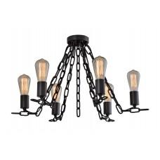 Люстра потолочная декоративная лофт на цепях Wunderlicht Loft Черная 6 лампочек