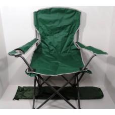 Стул со спинкой и подстаканником размер L в чехле рыбацкий складной для кемпинга, пикника вес до 120 кг Sannen Зеленый