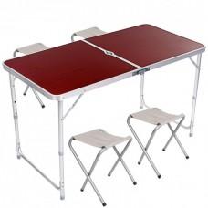 Стол для пикника раскладной с 4 стульями Folding Table 120х70х60 см Brown