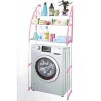 Полка-стеллаж над стиральной машиной напольная тумба 152 см Style WM-63 Бело-розовая