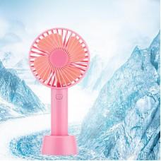 Вентилятор USB ручной аккумуляторный с подставкой мини-вентилятор портативный Portable Fan S02 Pink