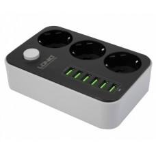 Зарядное устройство сетевое 6 USB и 3 розетками зарядная станция cетевой удлинитель LDNIO 6USB/3.4A