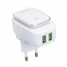 Зарядное устройство сетевое с подсветкой и 2 USB LDNIO A2205 microUSB White
