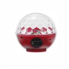 Диско шар (дискошар) беспроводной аккумуляторный с Bluetooth с пультом ДУ  7 color DMX 512 RED