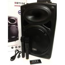 """Акустическая система комбик 2 радио микрофона беспроводная аккумуляторная колонка 12"""" USB FM UKC BT12A Black"""