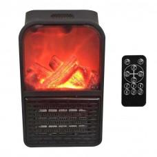 Обогреватель портативный с LCD дисплеем и имитацией камина, пульт ДУ 1000 Вт FLAME HEATER Black тепловентилятор
