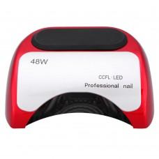 Лампа сушка для ногтей гибридная УФ UV Lamp CCFL+LED 48W сушилка для маникюра и педикюра Red