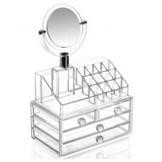 Органайзер бокс для хранения косметики с зеркалом Cosmetic Storage Box Organizer KB_02
