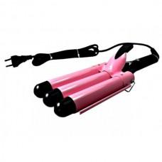 Стайлер для волос, тройная плойка 5 волн для завивки волос Gemei GM1956 Pink