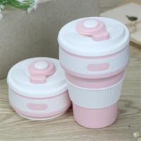 Чашка силиконовая складная Collapsible 1051 350 мл Розовая