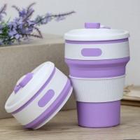 Чашка силиконовая складная Collapsible 1051 350 мл Фиолетовая