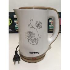 Чайник электрический из нержавеющей стали и пластика дисковый 2,5 л 1500 Вт электрочайник RAINBERG RB-903 White