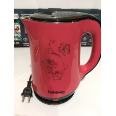 Чайник электрический из нержавеющей стали и пластика дисковый 2,5 л 1500 Вт электрочайник RAINBERG RB-903 Pink