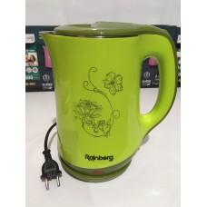 Чайник электрический из нержавеющей стали и пластика дисковый 2,5 л 1500 Вт электрочайник RAINBERG RB-903 Green