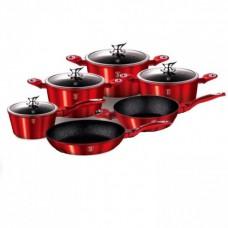 Набор кастрюль посуды с мраморным покрытием Benson (10 предметов) BN-335  Красный