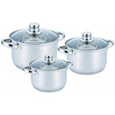 Набор кастрюль посуды 2.1л, 2.9л, 3.9л из нержавеющей стали Benson (6 предметов) BN-205