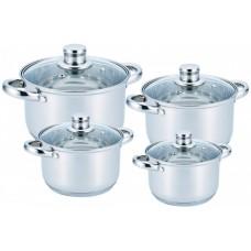 Набор кастрюль посуды 2.1л, 2.9л, 3.9л, 6.5л из нержавеющей стали Benson (8 предметов) BN-206 Silver