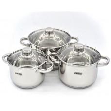 Набор больших кастрюль 8.5 л, 10 л, 14 л посуды из нержавеющей стали Benson (6 предметов) BN-213 Silver