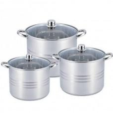 Набор кастрюль больших 11 л, 13 л, 16 л посуды из нержавеющей стали Benson (6 предметов) BN-215 Silver