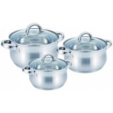 Набор кастрюль 2.9 л, 3.9 л, 6.5 л посуды яблочной формы из нержавеющей стали Benson (6 предметов) BN-232 Silver