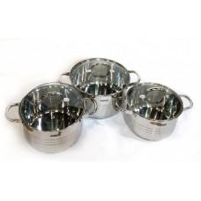 Набор кастрюль 4 л, 5.1 л, 6.5 л посуды из нержавеющей стали Benson (6 предметов) BN-233 Silver