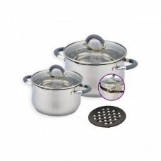 Набор кастрюль 3 л, 6.5 л посуды из нержавеющей стали Benson (5 предметов) BN-236 Silver