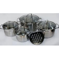 Набор кастрюль 2.1 л,3 л, 4 л, 6.5 л посуды из нержавеющей стали Benson (8 предметов) BN-239 Silver