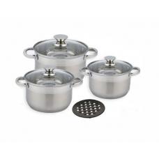 Набор кастрюль посуды 3 л, 4 л, 5.1 л из нержавеющей стали Benson (7 предметов) BN-240 Silver