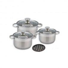 Набор кастрюль 4 л, 5.1 л, 6.5 л посуды из нержавеющей стали Benson (7 предметов) BN-241 Silver