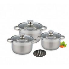 Набор кастрюль больших  5.1 л, 6.5 л, 8.2 л посуды из нержавеющей стали Benson (7 предметов) BN-242 Silver