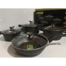 Набор кастрюль 2,5 л, 4,5 л, 6,5 л, 28 см посуды с мраморным покрытием Benson (8 предметов) BN-333 Черный