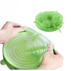 Силиконовые крышки для посуды набор 6 штук Silicone Sealing Lids Green