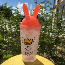 Стакан охлаждающий с трубочкой 450 мл Ice Cup Bunny Розовый