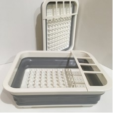 Сушилка сушка для посуды силиконовая складная KitchenCraft Серо-белая