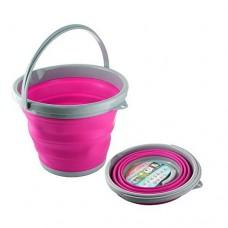 Ведро складное силиконовое круглое 10 л CYAN Pink