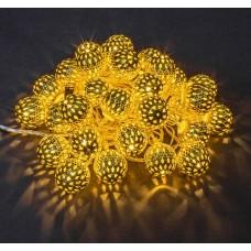 Гирлянда светодиодная Шарик Бубенчик Золото 40 LED 3 метра HLV