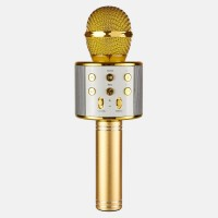 Беспроводной караоке микрофон с динамиком Bluetooth USB WS-858 в чехле Gold (WS858G)
