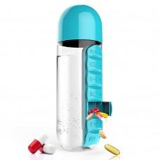 Бутылка с органайзером для таблеток и витаминов 600 мл Pill & Vitamin Organizer Blue